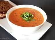 آموزش تهیه سوپ گوجه همراه با ریحان