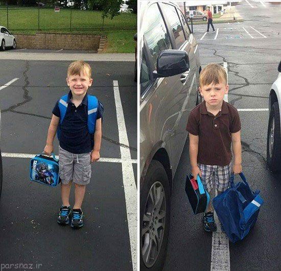 تصاویر خنده دار کودکان و اولین روز مدرسه