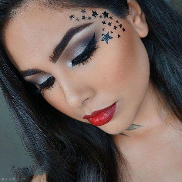 مدل آرایش چشم و ابرو زیبای صورت کاری از Adila Khalid
