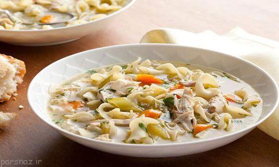 آموزش تهیه سوپ مرغ و پاستا