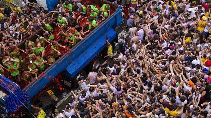 جشنواره جالب گوجه فرنگی در اسپانیا را ببینید