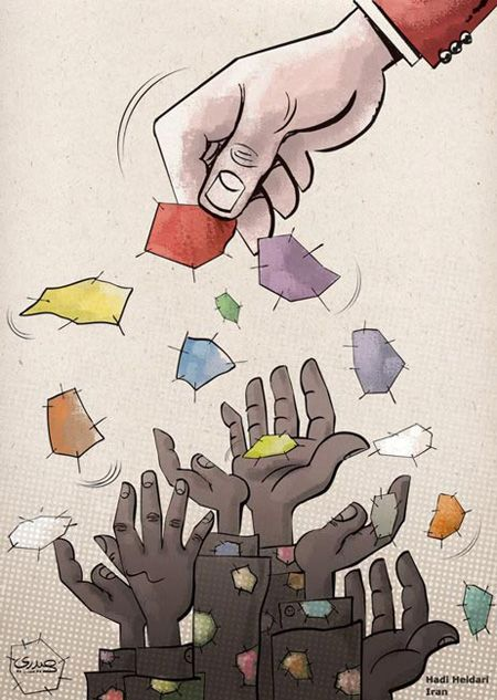 کاریکاتور درباره فقر و بی پولی در جامعه