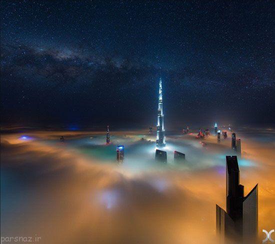 تصاویر آسمان خراش های دبی در هاله ای از مه