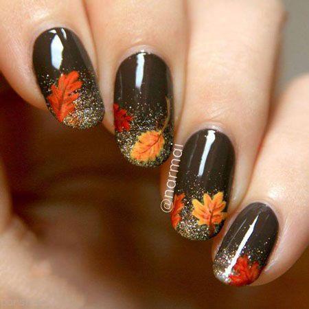 مدل ناخن های خود را به سبک پاییزی طرح بزنید