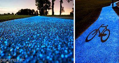 دوچرخه سواری در مسیر ویژه به رنگ آبی