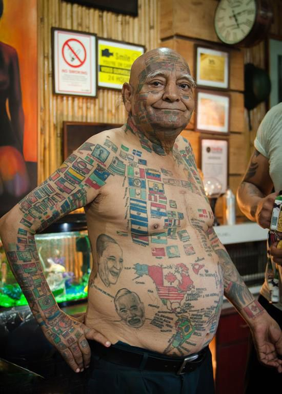 خالکوبی های پیرمرد هندی که چندین رکورد در گینس دارد