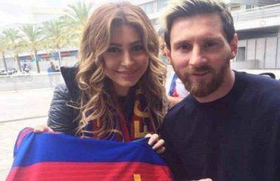سلفی مسی با خواننده زن مشهور عرب