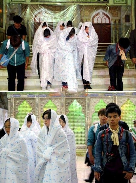 دختران ژاپنی محجبه در امامزاده صالح تجریش