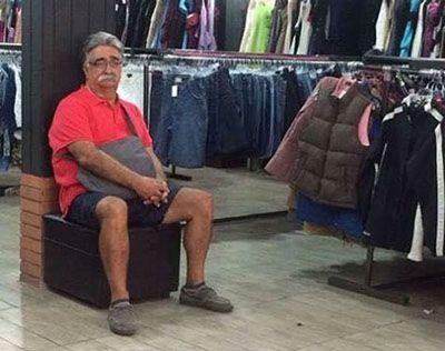 عکس های طنز و خنده دار مردان هنگام خرید كردن با خانم ها