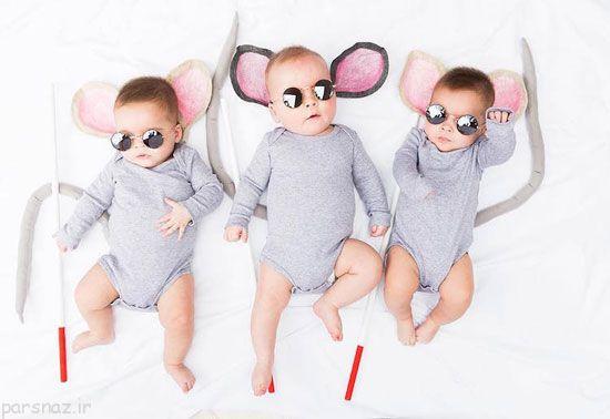 عکس های کودکان ناز سه قلوها در تیپ های جالب