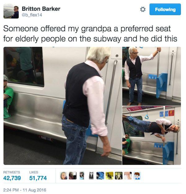 کار عجیب پدربزرگ 68 ساله ورزشکار در مترو