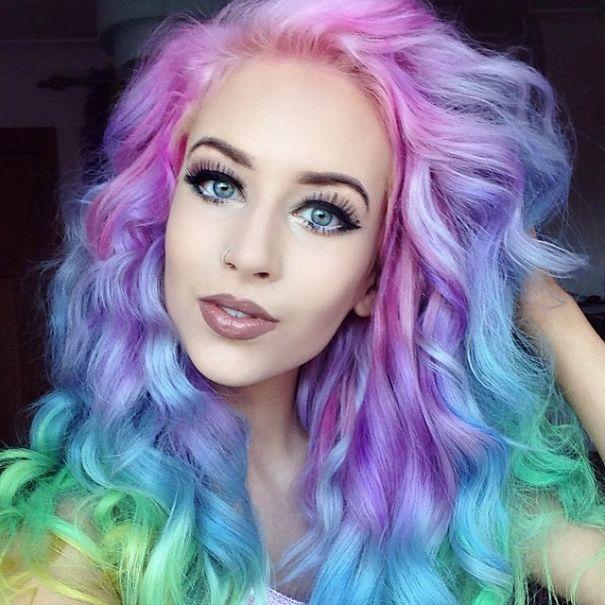 انواع مدل های مو رنگین کمانی بسیار زیبا