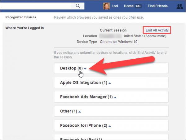 ترفند پی بردن به دستگاه های متصل به فیس بوک