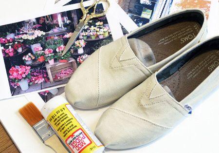 تزیین و طراحی روی کفش های کتانی دخترانه