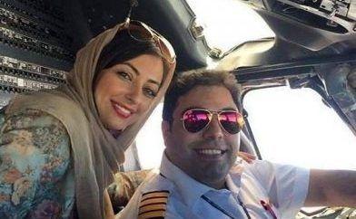عکس جالب نفیسه روشن و همسر خلبانش در هواپیما