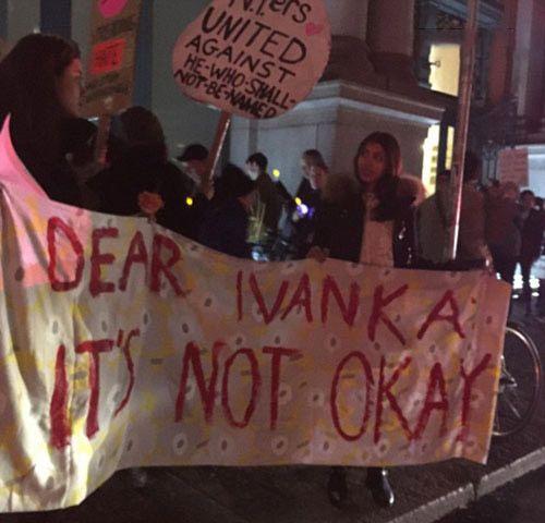 ایوانکا ترامپ خنده رو پس از تظاهرات مردم
