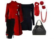 زیباترین ست لباس زنانه قرمز و سیاه برای زمستان