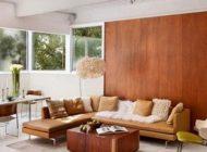 انواع دیوارهای چوبی برای فضای پشت کاناپه