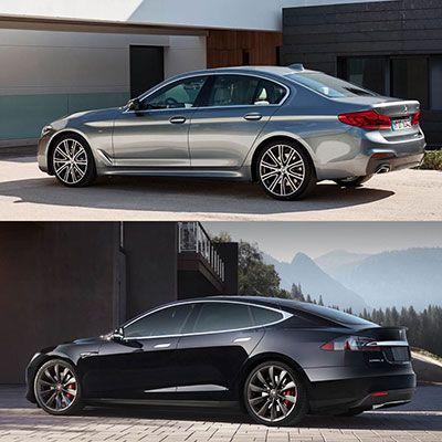 رقابت داغ بین BMW 5 و تسلا مدل S