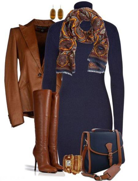 ست لباس زنانه فصل سرما سورمه ای و قهوه ای