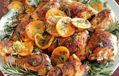 مرغ کبابی خوشمزه با طعم لیمو پرتقال