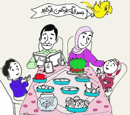 نقاشی های کودکانه سفره هفت سین ایرانی