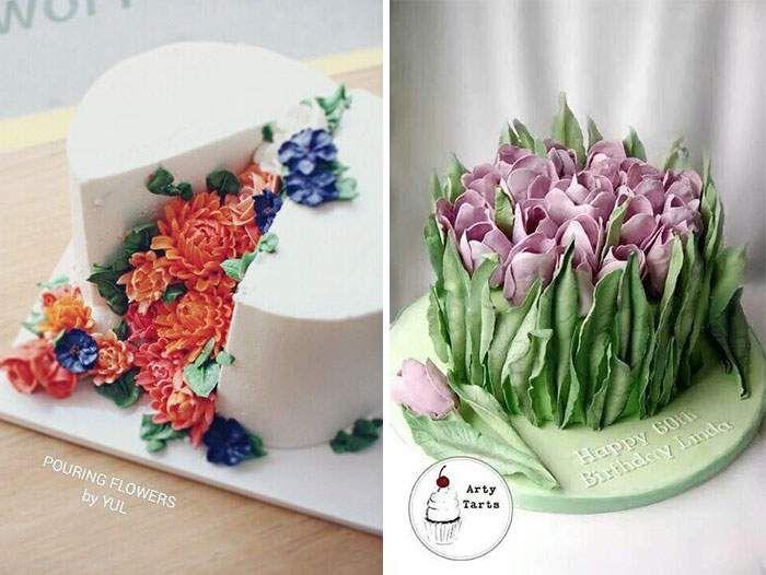 مدل های تزیین کیک به شکل گل های بهاری