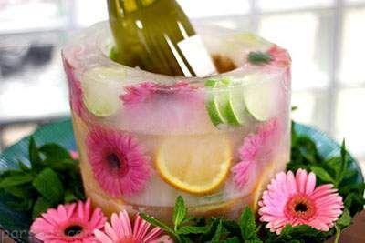 آموزش کاربردی تزیین یخ با گل و میوه ها
