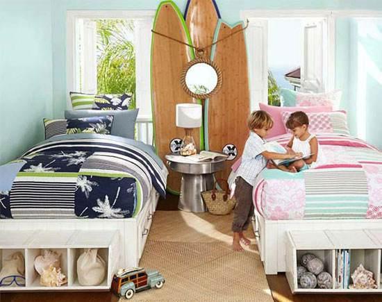 مدل های دکوراسیون اتاق مشترک دختر و پسر