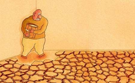 کاریکاتورهای غم انگیز کم آبی