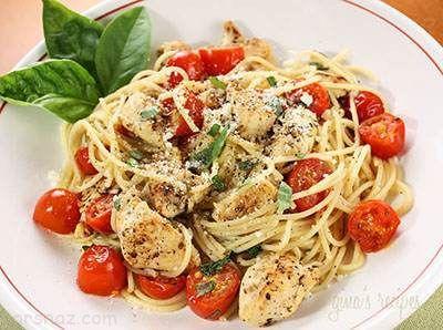 طرز تهیه اسپاگتی مرغ و گوجه فرنگی خوشمزه