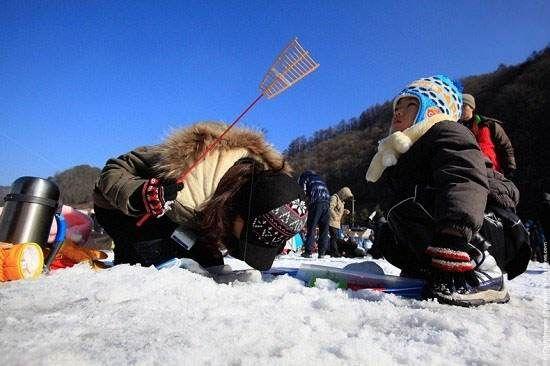 شادی مردان و زنان کره ای در فستیوال یخ