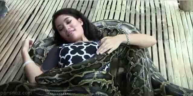 ماساژ بدن زنان بوسیله مارهای افعی در فیلیپین