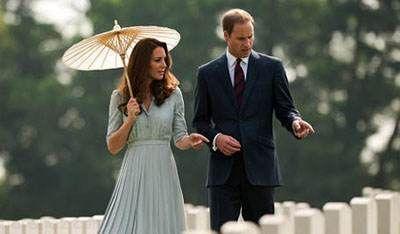شاهزاده ویلیام و کیت میدلتون در باغ خانه شان