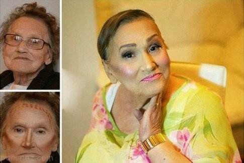 تغییر چهره معجزه آسای پیرزن با استفاده از آرایش