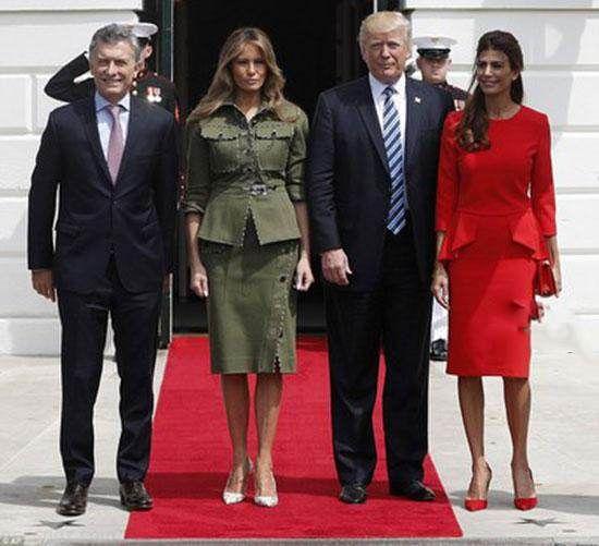 استایل ملانیا ترامپ در کنار همسر رئیس جمهور آرژانتین
