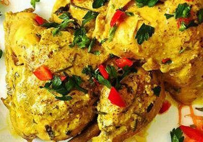 مرغ مارینه یونانی غذای خوشمزه برای ناهار