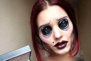 ترسناک ترین گریم ها روی چشم های این دختر زیبا