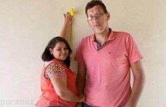 ازدواج جنجالی مرد بلند قد و زن کوتوله +عکس