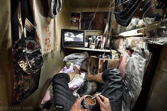 تصاویر عجیب از زندگی در خانه های تابوتی +عکس