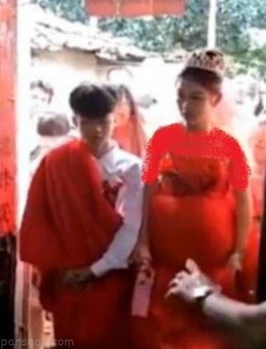 ازدواج دختر 13 ساله باردار چینی جنجالی شد +عکس