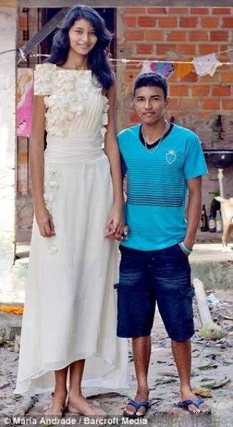 ازدواج قدبلندترین دختر مدلینگ جهان با پسر کوتاه تر از خودش