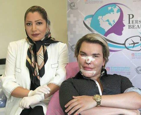 مدل انگلیسی در کنار خانم دکتر ایرانی جراح در کیش