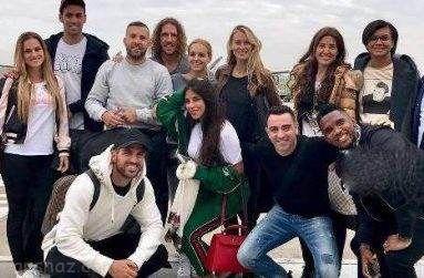 فوتبالیست های بارسلونا و همسرانشان در عروسی مسی