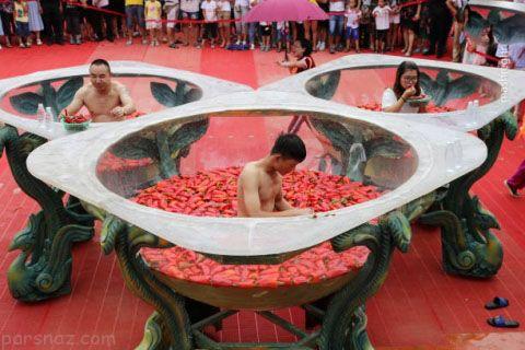 مسابقات داغ فلفل خوری در کشور چین +عکس