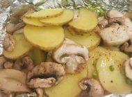 روش پخت قارچ و سیب زمینی در فویل