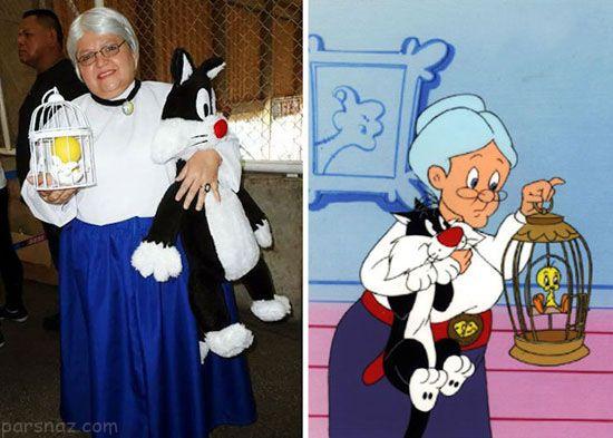 زن 50 ساله برزیلی در لباس شخصیت های انیمیشنی