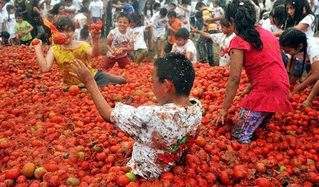 دختران و پسران در جشنواره گوجه فرنگی کلمبیا
