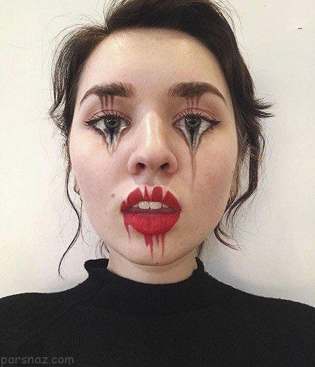 جادوی آرایش و اشکال عجیب روی صورت این دختر