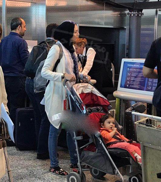 عکس لو رفته آزاده نامداری در فرودگاه میلان ایتالیا +عکس